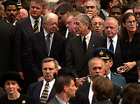 D&K :Montreal, 2000-10-03 <br /> Former US President Jimmy Carter chats with Montreal born singer - poet Leonard Cohen (right)<br /> after the funeral of former Canadian Prime Minister, the Honorable Pierre Eliott Trudeau  held at the Notre-Dame Basilica in Montreal (QuÈbec, Canada) on October 10th, 2000.<br /> Photo : Pierre Roussel