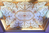 Ceiling of a state room in The Kings of Naples Royal Palace of Caserta, Italy. A UNESCO World Heritage Site