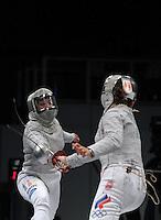 European Championships Fencing 2010 / Fecht Europameisterschaft 2010 in Leipzig - Competition Championat d'europe - im Bild: women sabre - Sibylle KLEMM (GER) against Sophia VELIKAIA (RUS, right)  . Foto: Norman Rembarz..Norman Rembarz , Autorennummer 41043728 , Augustenstr. 2, 04317 Leipzig, Tel.: 01794887569, Hypovereinsbank: BLZ: 86020086, KN: 357889472, St.Nr.: 231/261/06432 - Jegliche kommerzielle Nutzung ist honorar- und mehrwertsteuerpflichtig! Persönlichkeitsrechte sind zu wahren. Es wird keine Haftung übernommen bei Verletzung von Rechten Dritter. Autoren-Nennung gem. §13 UrhGes. wird verlangt. Weitergabe an Dritte nur nach  vorheriger Absprache..
