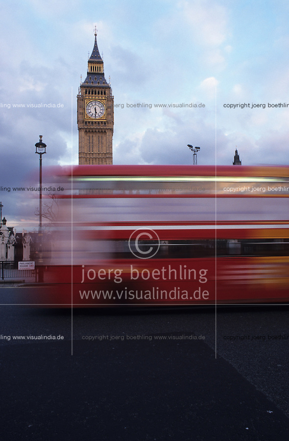 Great Britain London, Big Ben and double decker bus / England, London,<br />