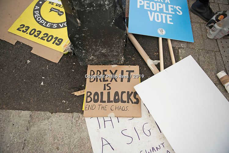 """Discarded placards in Trafalgar Square after the """"Put it to the People"""" rally whicc made it's way through central London today. Demonstrators from across the country gathered to call for a second referendum on Brexit and to march through the UK capital finishing with speeches in Parliament Square opposite the Houses of Parliament in Westminster."""