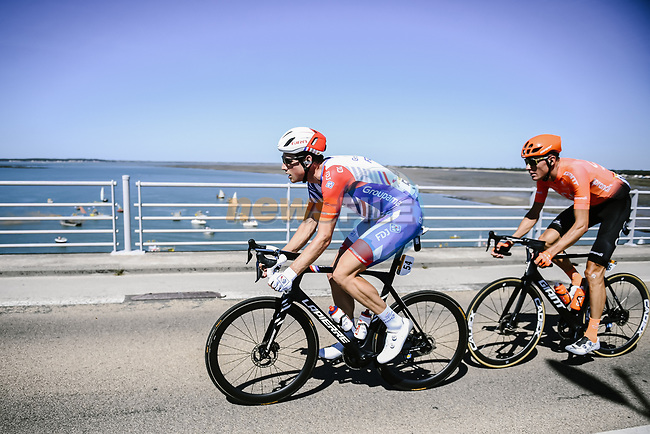 Fellow countrymen Stefan Kung (SUI) Groupama-FDJ and Michael Schar (SUI) CCC Team form the day's breakaway at the start of Stage 10 of Tour de France 2020, running 168.5km from Ile d'Oléron to Ile de Ré, France. 8th September 2020.<br /> Picture: ASO/Pauline Ballet | Cyclefile<br /> All photos usage must carry mandatory copyright credit (© Cyclefile | ASO/Pauline Ballet)