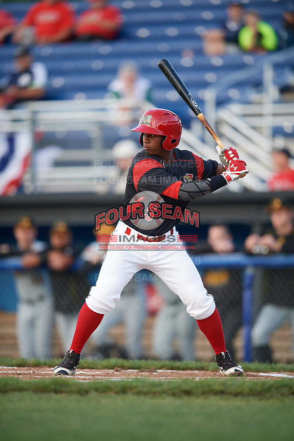 Batavia Muckdogs second baseman Samuel Castro (5) at bat during a game against the West Virginia Black Bears on June 24, 2017 at Dwyer Stadium in Batavia, New York.  The game was suspended in the bottom of the third inning and completed on June 25th with West Virginia defeating Batavia 6-4.  (Mike Janes/Four Seam Images)