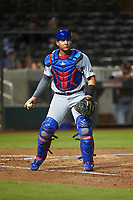 Mesa Solar Sox catcher Miguel Amaya (33), of the Chicago Cubs organization, during an Arizona Fall League game against the Salt River Rafters on September 19, 2019 at Salt River Fields at Talking Stick in Scottsdale, Arizona. Salt River defeated Mesa 4-1. (Zachary Lucy/Four Seam Images)