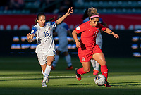 CARSON, CA - FEBRUARY 07: Katherine Alvarado #16 of Costa Rica defends Desiree Scott #11 of Canada during a game between Canada and Costa Rica at Dignity Health Sports Park on February 07, 2020 in Carson, California.