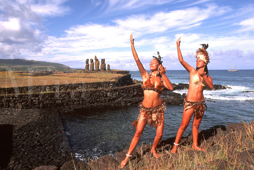 Women in Costume at Moai Platform in Easter Island during Tapati Festival Rapa Nui