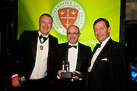 Barrister of the Year Patrick Limb QC of Ropewalk Chambers is pictured centre with President Austin Moore (left) and William Harbage of sponsors 36 Bedford Row