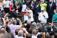10th July 2021. Wilmbledon, SW London England. Wimbledon Tennis Championships 2021, Ladies singles final Ashleigh Barty versus  Karolina Pliskova (Czech);  Ashleigh Barty (Aus) celebrates her win with family and friends
