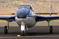 British built de Havilland Vampire on the ramp after a Jet Class race at the 2011 National Championship Races in Reno, Nevada. The prototype of the Vampire first flew in 1943 and a production version first took flight in 1945. The aircraft flew with front line RAF squadrons until 1955.