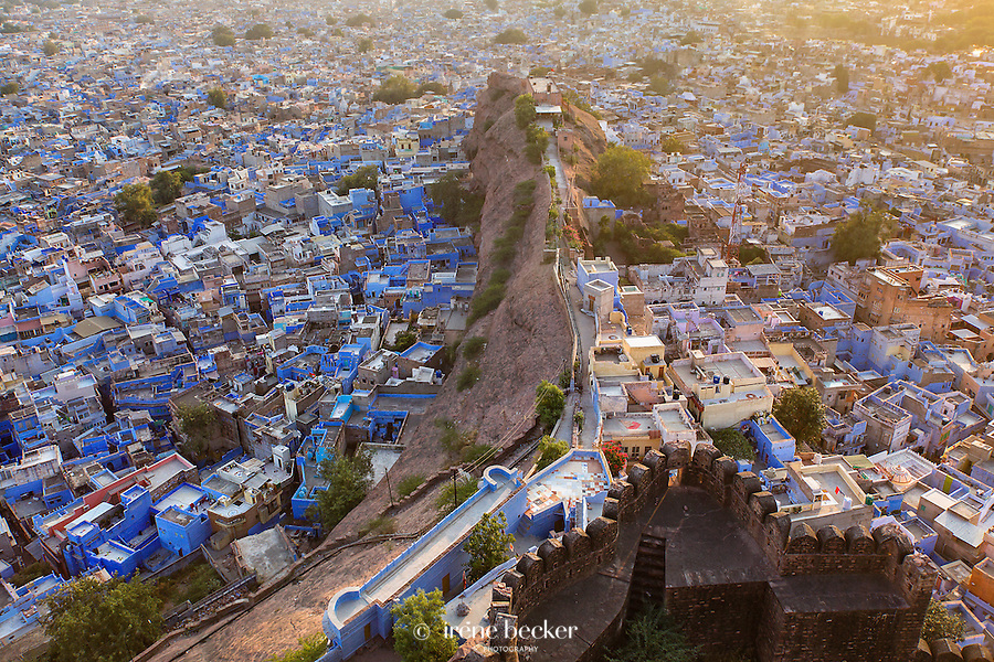 Sunset Over the Blue City. View of Jodhpur from the Mehrangarh Fort