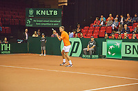 15-sept.-2013,Netherlands, Groningen,  Martini Plaza, Tennis, DavisCup Netherlands-Austria, Jesse Huta Galung in front of boarding <br /> Photo: Henk Koster