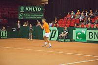 15-sept.-2013,Netherlands, Groningen,  Martini Plaza, Tennis, DavisCup Netherlands-Austria, Jesse Huta Galung in front of boarding <br /> Photo: Henk Koster