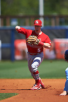 Palm Beach Cardinals second baseman Andrew Brodbeck (5) throws to first during a game against the Charlotte Stone Crabs on April 10, 2016 at Charlotte Sports Park in Port Charlotte, Florida.  Palm Beach defeated Charlotte 4-1.  (Mike Janes/Four Seam Images)