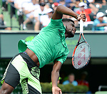 March 25 2017: Frances Tiafoe (USA) loses to Roger Federer (SUI) 7-6, 6-3, at the Miami Open being played at Crandon Park Tennis Center in Miami, Key Biscayne, Florida. ©Karla Kinne/tennisclix