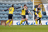 20th February 2021; Dens Park, Dundee, Scotland; Scottish Championship Football, Dundee FC versus Queen of the South; Rhys Breen of Queen of the South celebrates after scoring for 2-0 in the 38th minute