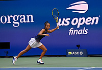 11th September 2021: Billie Jean King Tennis Centre, New York, USA; US Open Tennis, womens singles final. Canada's Leylah Fernandez of Canada returns to Emma Raducanu (GBR) but she loses in 2 sets