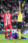Referee Jesus Gil Manzano shows Stefan Savic of Atletico de Madrid a yellow card during their Copa del Rey 2016-17 Semi-final match between FC Barcelona and Atletico de Madrid at the Camp Nou on 07 February 2017 in Barcelona, Spain. Photo by Diego Gonzalez Souto / Power Sport Images