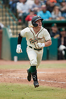 Aaron Shackelford (44) of the Greensboro Grasshoppers hustles down the first base line against the Rome Braves at First National Bank Field on May 16, 2021 in Greensboro, North Carolina. (Brian Westerholt/Four Seam Images)
