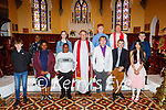 Receiving their Confirmation in St Johns Church Ashe Tralee on Sunday, front l to r: Jamie Kerins, Dorcas Roberts, Noel Roberts, Bishop Kenneth Kieran, Joesph Shanahan, Christopher Knightley and Lucy Giles. Back l to r: Favour Roberts, Laura West, Billy Giles, Rev Jim Stevens and Peter O'Neill Reid
