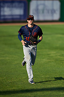 Bowling Green Hot Rods left fielder Beau Brundage (11) jogs off the field between innings of a Midwest League game against the Peoria Chiefs at Dozer Park on May 5, 2019 in Peoria, Illinois. Peoria defeated Bowling Green 11-3. (Zachary Lucy/Four Seam Images)