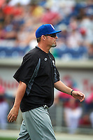 Biloxi Shuckers pitching coach Chris Hook (37) walks back to the dugout after a mound visit during the first game of a double header against the Pensacola Blue Wahoos on April 26, 2015 at Pensacola Bayfront Stadium in Pensacola, Florida.  Biloxi defeated Pensacola 2-1.  (Mike Janes/Four Seam Images)