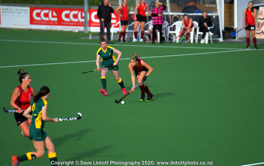 Action from the women's premier one Wellington Hockey match between Hutt United and Victoria University at National Hockey Stadium in Wellington, New Zealand on Saturday, 13 June 2020. Photo: Dave Lintott / lintottphoto.co.nz