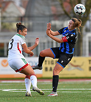OHL's Sara Yuceil pictured in a duel with Ellen Martens (2 Brugge) during a female soccer game between Club Brugge Dames YLA and Oud Heverlee Leuven on the 8 th matchday of the 2020 - 2021 season of Belgian Scooore Womens Super League , saturday 21 th November 2020  in Knokke , Belgium . PHOTO SPORTPIX.BE | SPP | DAVID CATRY