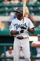 Tampa Tarpons Estevan Florial (34) at bat during a game against the Lakeland Flying Tigers on April 5, 2018 at Publix Field at Joker Marchant Stadium in Lakeland, Florida.  Tampa defeated Lakeland 4-2.  (Mike Janes/Four Seam Images)