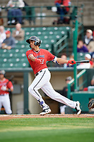 Rochester Red Wings third baseman Leonardo Reginatto (11) at bat during the first game of a doubleheader against the Scranton/Wilkes-Barre RailRiders on August 23, 2017 at Frontier Field in Rochester, New York.  Rochester defeated Scranton 5-4 in a game that was originally started on August 22nd but postponed due to inclement weather.  (Mike Janes/Four Seam Images)
