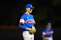 Mooresville Post 66 pitcher Dawson Salter (7) looks to his catcher for the sign against Kannapolis Post 115 during an American Legion baseball game at Northwest Cabarrus High School on May 30, 2019 in Concord, North Carolina. Mooresville Post 66 defeated Kannapolis Post 115 4-3. (Brian Westerholt/Four Seam Images)