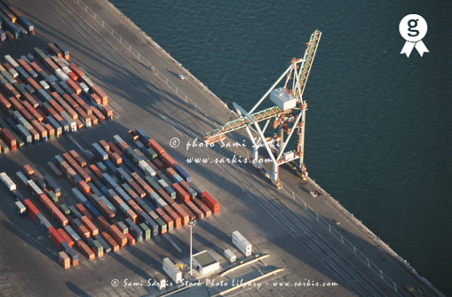 France, Marseille, freight container yard at port, aerial view (Licence this image exclusively with Getty: http://www.gettyimages.com/detail/200387960-001 )