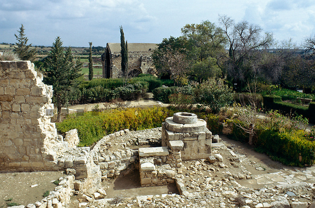 Yard of Kolossi Castle, near Limassol, Cyprus. Zypern.