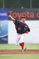 Batavia Muckdogs shortstop Micah Brown (55) throws to first base for the out during a game against the Auburn Doubledays on July 6, 2017 at Dwyer Stadium in Batavia, New York.  Auburn defeated Batavia 4-3.  (Mike Janes/Four Seam Images)