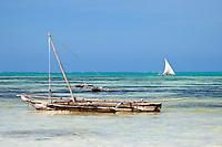 Jambiani, Zanzibar, Tanzania.  Outrigger Canoes.