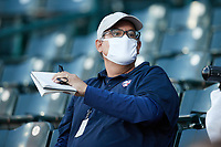 Minnesota Twins scout John Manuel during the minor league baseball game between the Hickory Crawdads and the Greensboro Grasshoppers at First National Bank Field on May 6, 2021 in Greensboro, North Carolina. (Brian Westerholt/Four Seam Images)
