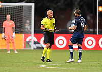LAKE BUENA VISTA, FL - AUGUST 01: Referee Robert Sibiga speaks to Maxime Chanot #4 of New York City FC during a game between Portland Timbers and New York City FC at ESPN Wide World of Sports on August 01, 2020 in Lake Buena Vista, Florida.