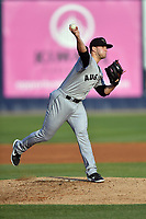 Augusta GreenJackets starting pitcher Jake Wong (22) attempts a pickoff during a game against the Asheville Tourists at McCormick Field on April 6, 2019 in Asheville, North Carolina. The Tourists defeated the GreenJackets 6-3. (Tony Farlow/Four Seam Images)
