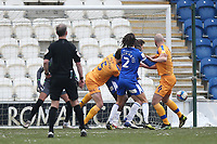 An own goal gives Mansfield a 1-0 lead during Colchester United vs Mansfield Town, Sky Bet EFL League 2 Football at the JobServe Community Stadium on 14th February 2021