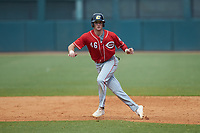 Alex Mooney (46) of Orchard Lake St Mary's Prep in Rochester Hills, MI playing for the Cincinnati Reds scout team takes his lead off of first base during the East Coast Pro Showcase at the Hoover Met Complex on August 4, 2020 in Hoover, AL. (Brian Westerholt/Four Seam Images)