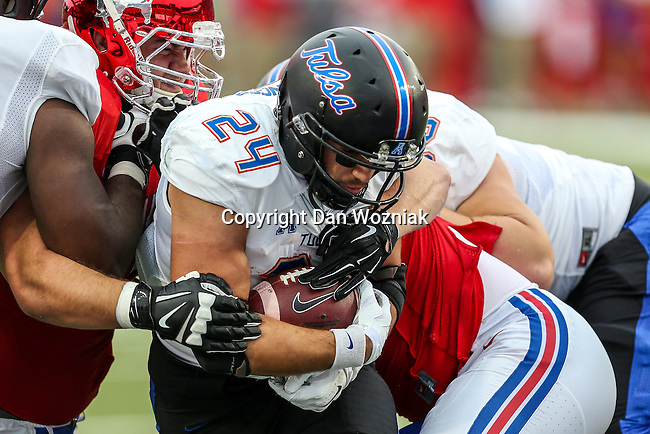 Tulsa Golden Hurricane running back Zack Langer (24) in action during the game between the Tulsa Golden Hurricanes and the SMU Mustangs at the Gerald J. Ford Stadium in Dallas, Texas.