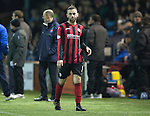 Kilmarnock v St Johnstone...06.12.14   SPFL<br /> James McFadden leaves th pitch after picking up a hamstring knock<br /> Picture by Graeme Hart.<br /> Copyright Perthshire Picture Agency<br /> Tel: 01738 623350  Mobile: 07990 594431