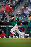 Norfolk Tides Jack Reinheimer (3) at bat during an International League game against the Buffalo Bisons on June 21, 2019 at Sahlen Field in Buffalo, New York.  Buffalo defeated Norfolk 1-0, the second game of a doubleheader.  (Mike Janes/Four Seam Images)