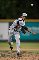 Lake Elsinore Storm relief pitcher Diomar Lopez (34) delivers a pitch to the plate during a California League game against the Modesto Nuts at John Thurman Field on May 12, 2018 in Modesto, California. Lake Elsinore defeated Modesto 4-1. (Zachary Lucy/Four Seam Images)