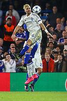 Aleksandar Dragovic of Dynamo Kyiv wins the aerial battle during the UEFA Champions League Group match between Chelsea and Dynamo Kyiv at Stamford Bridge, London, England on 4 November 2015. Photo by David Horn.