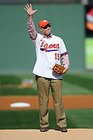 Clemson University President Jim Clements threw out the first pitch before the Reedy River Rivalry game on March 1, 2014, at Fluor Field at the West End in Greenville, South Carolina. South Carolina won, 10-2. (Tom Priddy/Four Seam Images)