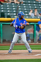 Hanser Alberto (8) of the Round Rock Express at bat against the Salt Lake Bees in Pacific Coast League action at Smith's Ballpark on August 13, 2016 in Salt Lake City, Utah. Round Rock defeated Salt Lake 7-3.  (Stephen Smith/Four Seam Images)