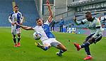 03.10.20 - Blackburn Rovers v Cardiff City - Sky Bet Championship - Junior Hoilett of Cardiff tries a shot past Daniel Ayala of Blackburn Rovers