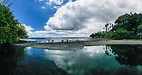 Visitors at Honoli'i Beach Park and Bay, Hilo, Big Island.