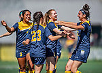 1 September 2019: Merrimack College Warrior Forward Taylor Robertson (right), a Junior from Hanson, MA, celebrates with Forward Izzy McDonnell, a Junior from Fall River, MA, after Izzy scored the game tying goal in second half action against the University of Vermont Catamounts in Game 3 of the TD Bank Women's Soccer Classic at Virtue Field in Burlington, Vermont. The Lady Warriors rallied in the second half to defeat the Catamounts 2-1. Mandatory Credit: Ed Wolfstein Photo *** RAW (NEF) Image File Available ***