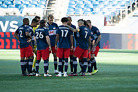 FOXBOROUGH, MA - SEPTEMBER 19: The New England starting eleven on the pitch at the start of the game during a game between New York City FC and New England Revolution at Gillette on September 19, 2020 in Foxborough, Massachusetts.